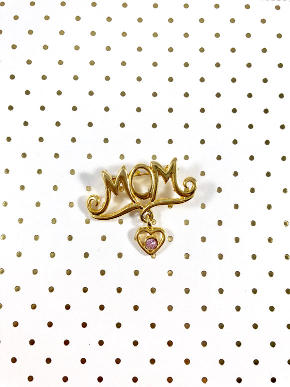 Vintage 80s Mom Dangle Heart Brooch