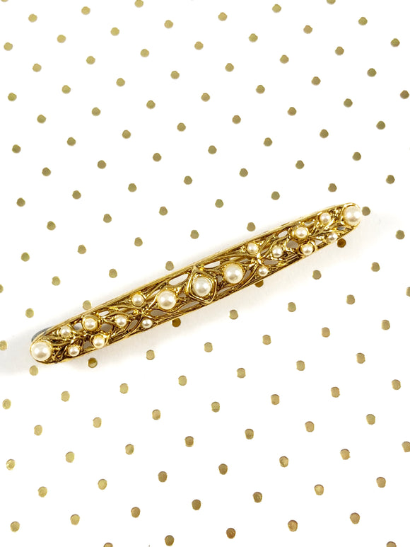 Vintage 60s Delicate Gold Pearl Bar Brooch
