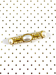 Vintage 70s Art Deco Gold Pearl Brooch