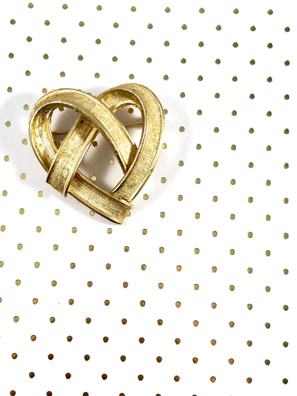 Vintage 80s Matt Gold Heart Brooch