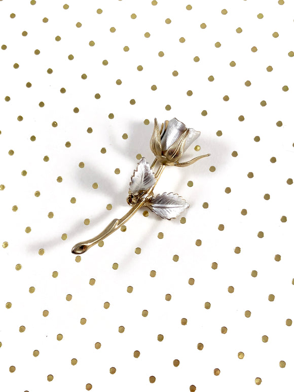 Vintage 70s Mix Metal Rose Brooch