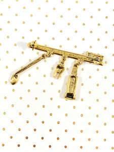 Vintage 80s Gold Brush Dangle Brooch