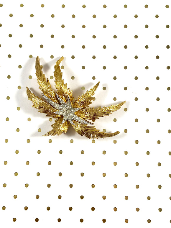 Vintage 60s PANETTA Gold Firework Palm Tree Brooch