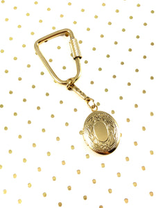 Vintage 60s Bright Gold Oval Locket Key Ring