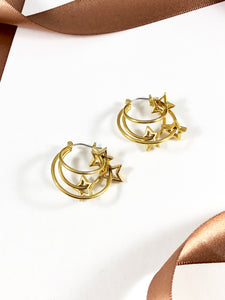 Vintage 80s Gold Orbit Stars Hoops