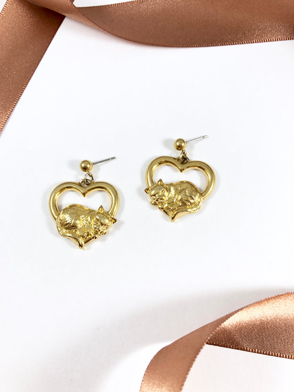 Vintage 80s Dangle Gold Kitty Heart Earrings