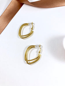 Vintage 80s Triple Illusion Gold Hoops