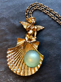 Kirks Folly Whispering Angel Shell Green Colorstone Gold Pendant Necklace