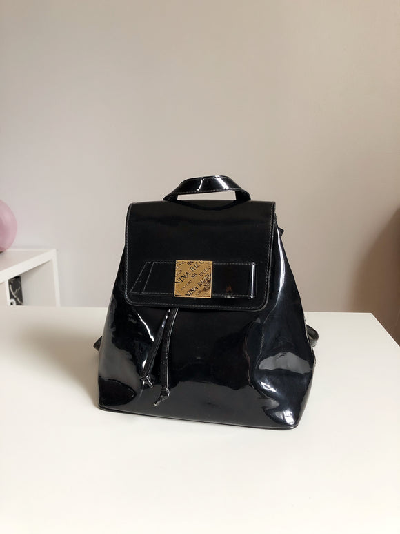 Nina Ricci Black Leather Drawstring Backpack