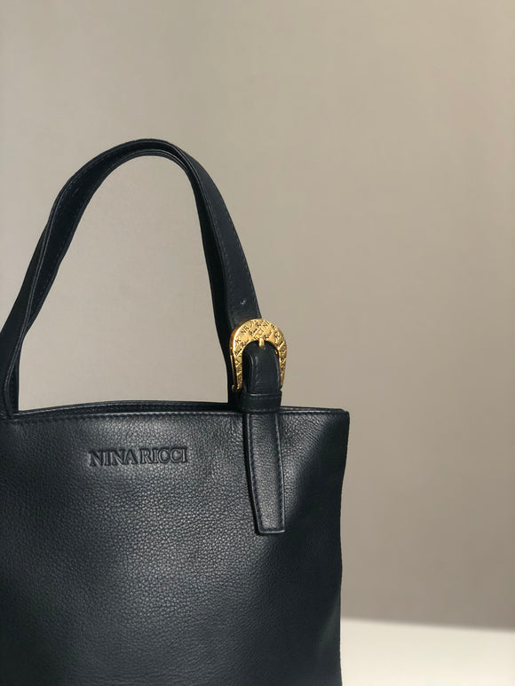 Nina Ricci Dark Blue Small Leather Tote