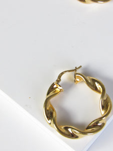 Twisted Gold Vermeil Sterling Hoop Earrings