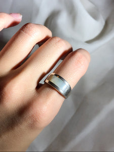 Minimalist Rectangle White Mother Of Pearl Silver Band Ring