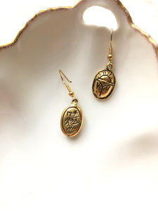Scarab Symbol Gold Dangle Earrings