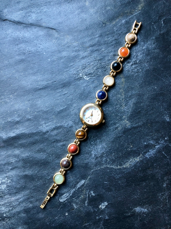 Semi Precious Round Multicolor stone Gold-Tone Ladies Watch