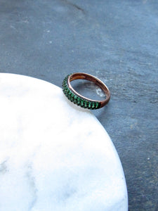Victorian Sparkled Green Rose Gold Ring