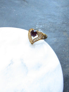 Victorian Heart Purple Amethyst Gold Ring