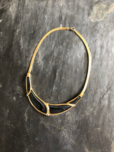Trifari Black Enamel Gold Choker Necklace