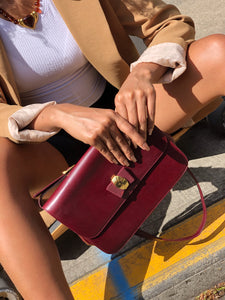 Bally Red Brown Genuine Leather Crossbody Bag