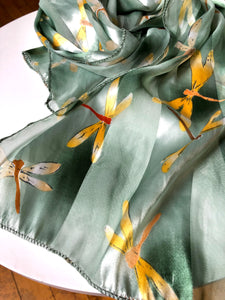 Yellow Dragonfly Green Long Silk Scarf