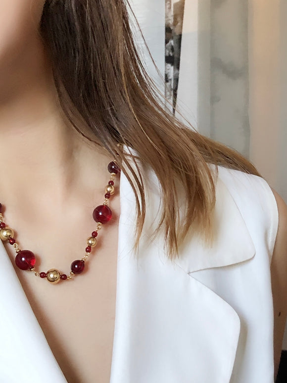 Napier Ruby Red Lucite Gold Beads Necklace