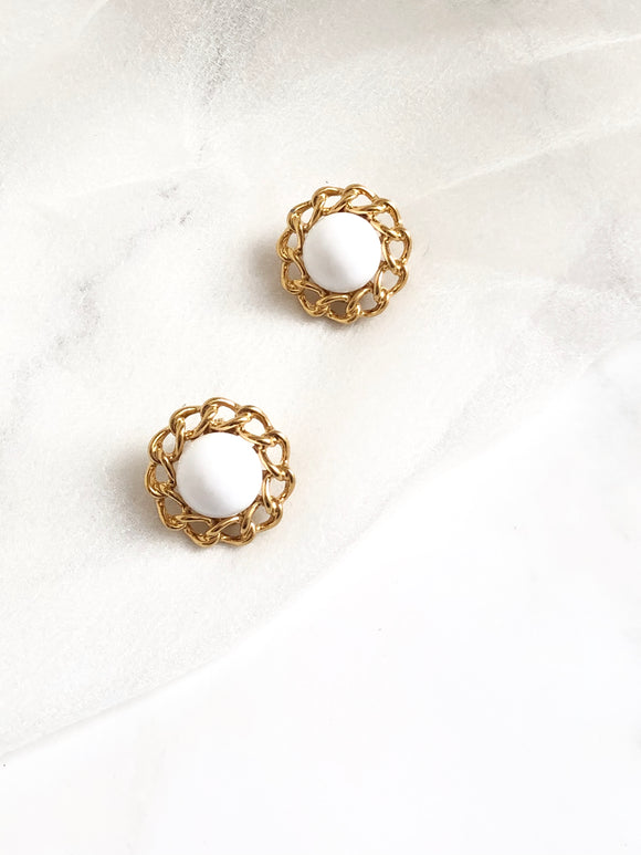 Monet Floral White Enamel Gold Statement Earrings