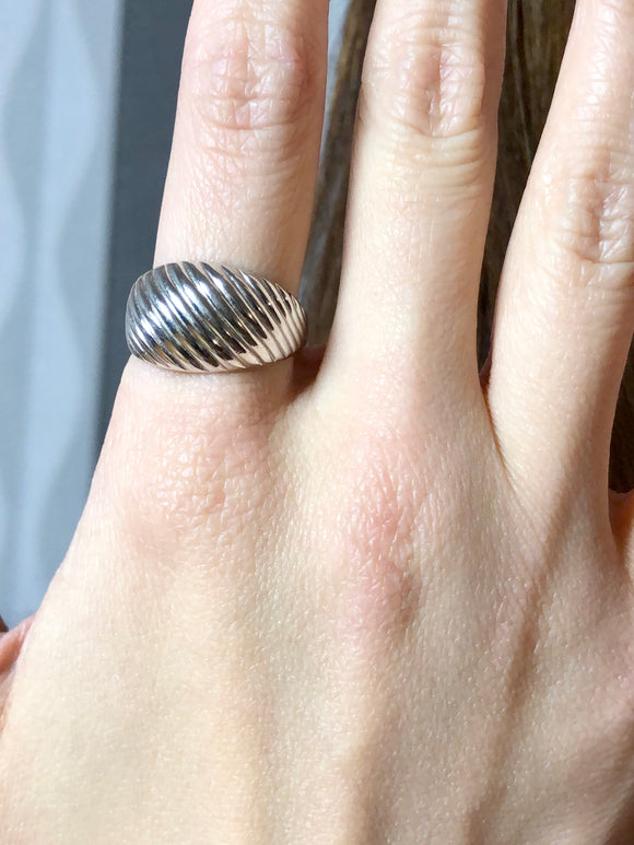 Modern Sterling Silver Ribbed Dome Ring