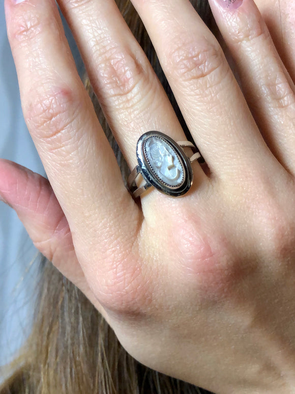 Sarah Coventry Craving Women White Cameo Silver Cocktail Ring