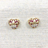 Vintage Krementz Heart of Gold Fleur de lis Lily Earrings