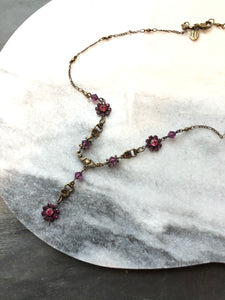 Sweet Romance Dainty Floral Pink Crystal Beads Necklace