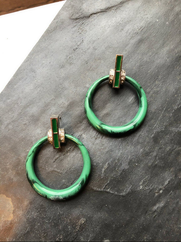 Circle Green Jade Lucite Silver Dangle Earrings
