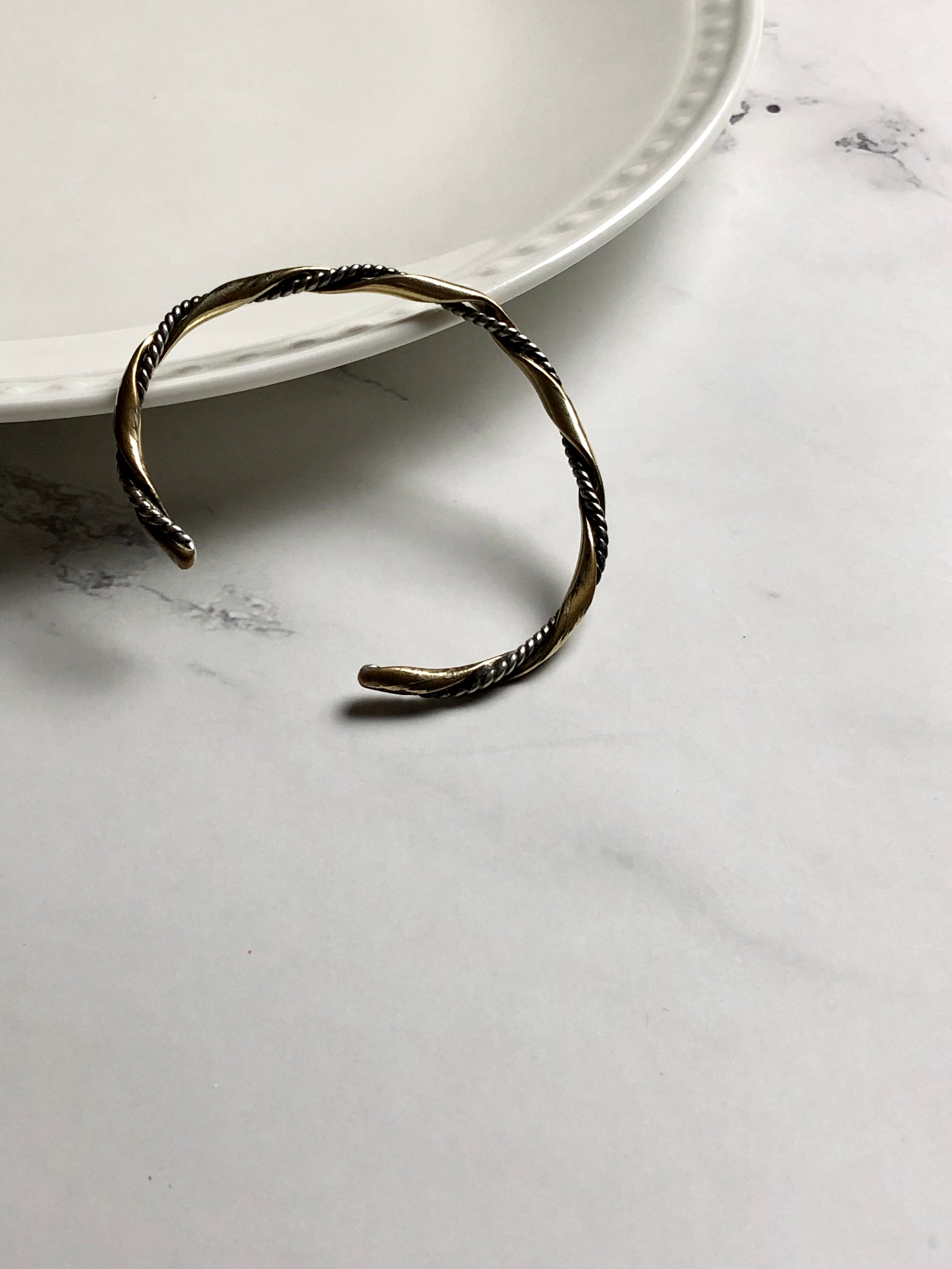 Twisted Thin Silver Gold Adjustable Bracelet