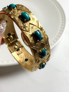 Endura Oval Turquoise Sparkled Crystal Gold Ladies Wrist Watch