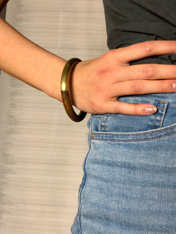 Natural Brown Wood & Brass Bangle