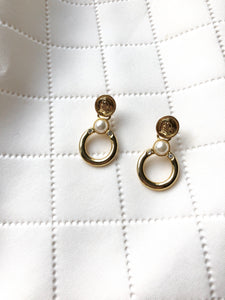 Coin Pearl Circle Gold Dangle Earrings