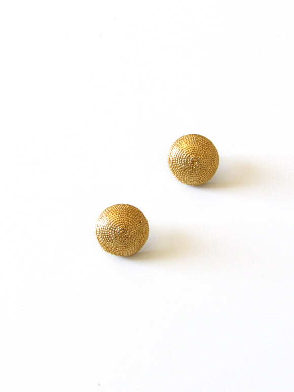 Rope Texture Gold Dome Earrings
