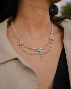 Victorian Pearl Silver Double Necklace