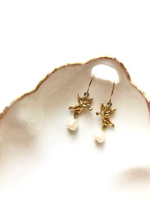 Angel Pearl Antique Gold Dangle Earrings