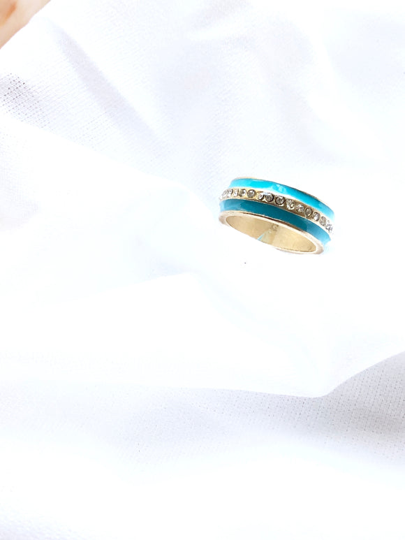 Aqua Enamel With Sparkled Center Gold Band Ring