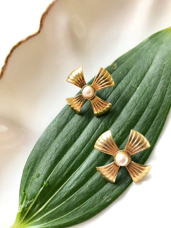 Art Deco Floral Pearl Gold Statement Earrings