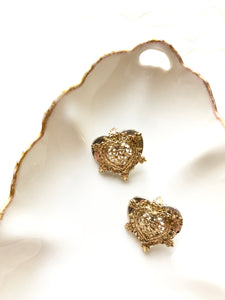 Art Deco Heart Gold Statement Earrings