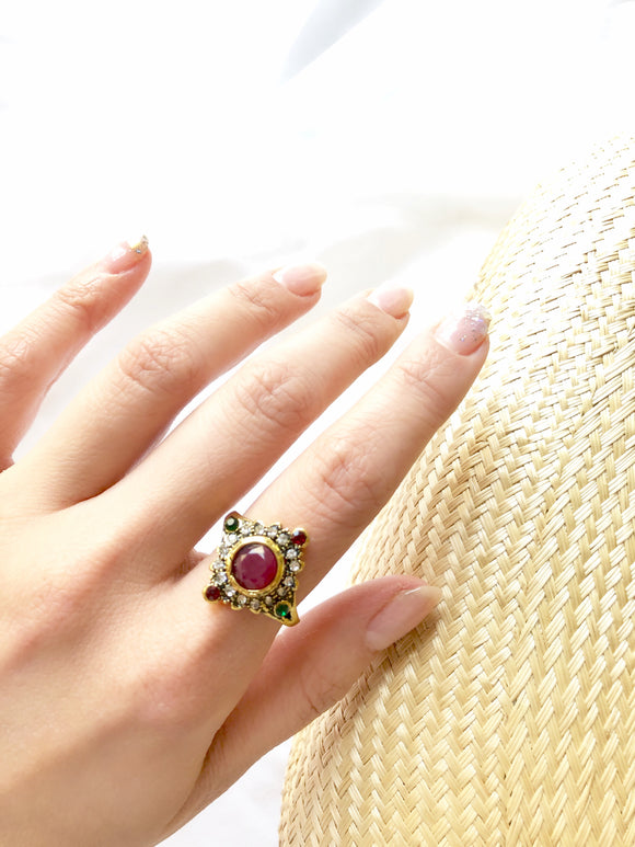 Art Deco Red 14k Gold Plated Statement Ring