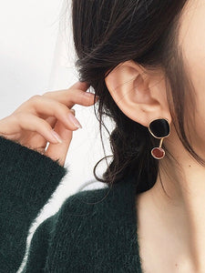 Asymmetrical Geo Multicolor Dark Red Gold Dangle Earrings