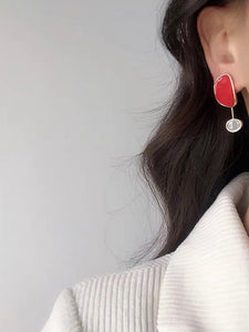 Asymmetrical Geo Multicolor Red Gold Dangle Earrings