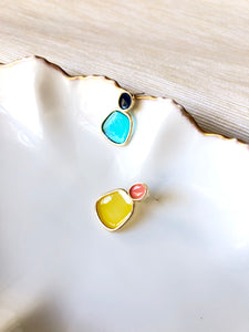 Asymmetriclal Trapezoid 4 Colors Jelly Enamel Gold Dangle Earrings
