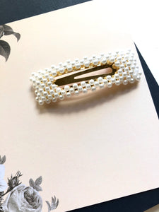 Beaded Pearl Gold Statement Hair Clip