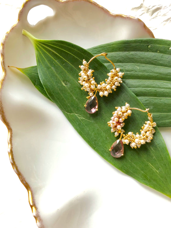 Beaded Pink Teardrop Gold Cluster Earrings
