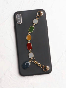 Black Silicone iPhone Case With Retro Colors Enamel Chain Holder