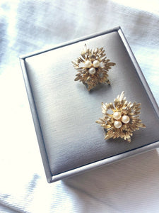 Blossom Pearl Gold Clip On Earrings