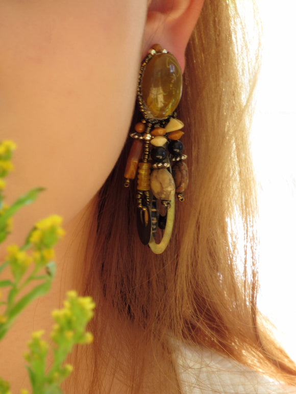 Boho Chic Leather Beads Dangle Earrings