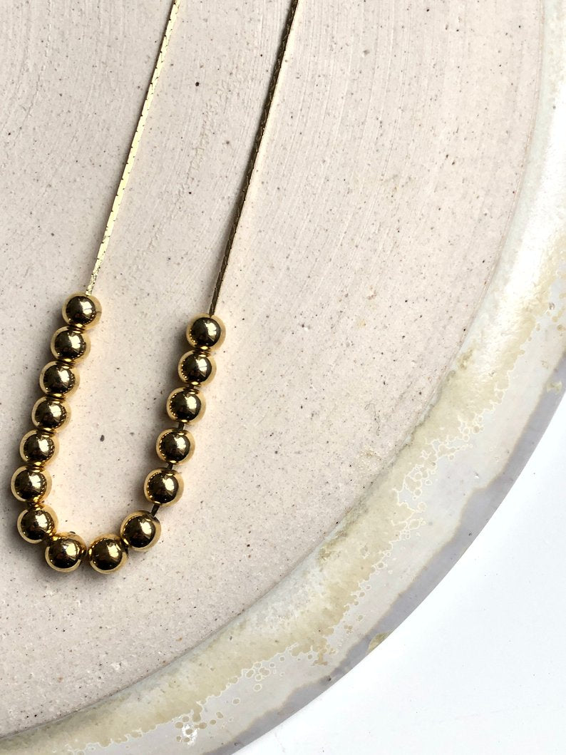Bottom Beaded 18k Gold Plated Necklace